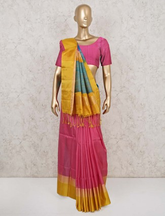 Latest pink south pure silk saree for wedding