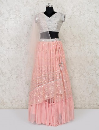 Latest pink wedding lehenga choli in georgette