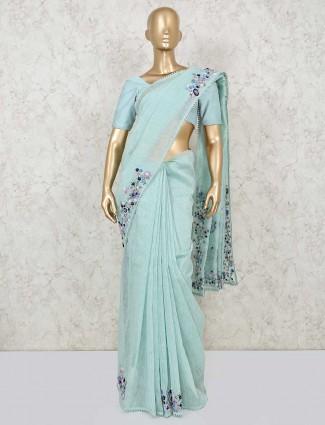 Latest powder blue handloom cotton saree