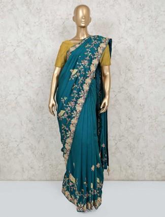 Latest rama green cotton silk saree for wedding