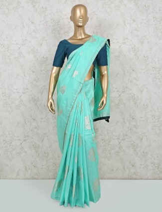 Latest reception event saree in sea green dola silk