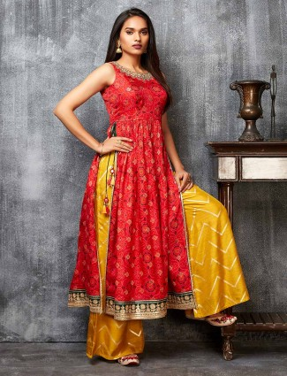 Latest red and yellow cotton silk salwar suit for festive