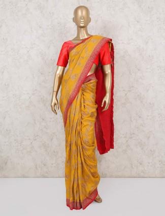Latest red and yellow muga silk saree for wedding
