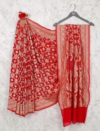 Latest Red Bandhej Wedding Saree