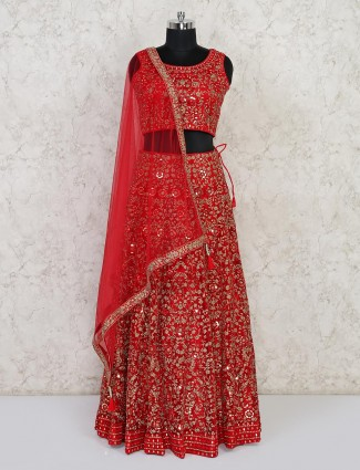 Latest red bridal lehenga choli in net
