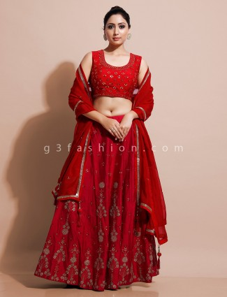 Latest red colour lehenga choli for wedding in raw silk