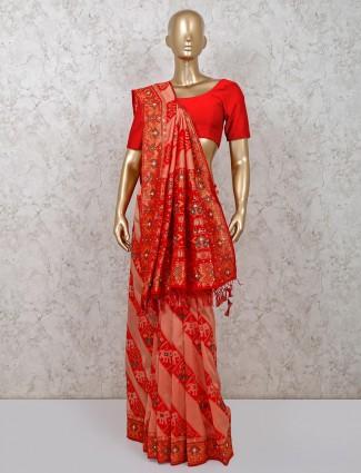 Latest red cotton silk wedding saree