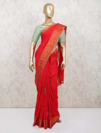 Latest red dola silk saree with beads work for festive