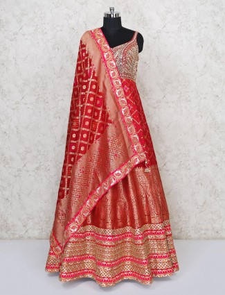 Latest red floor length anarkali suit in patola silk