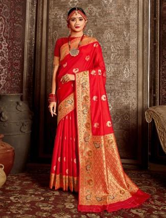 Latest red handloom banarasi silk saree