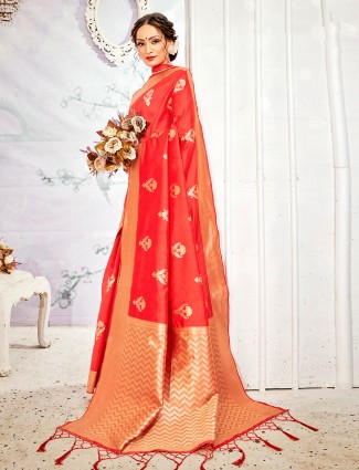 Latest red handloom banarasi silk saree for wedding