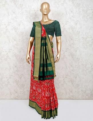 Latest red hydrabadi patola silk saree for reception