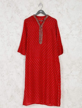 Latest red printed kurti for casual look