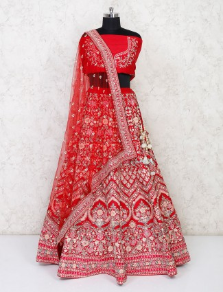 Latest red semi stitched bridal lehenga for wedding bride