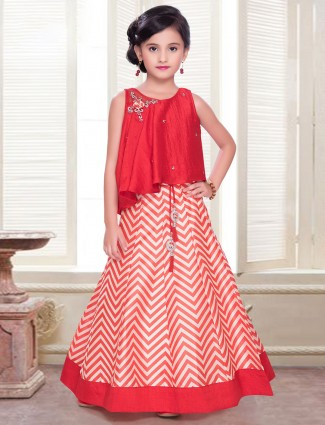 Latest red silk lehenga choli for your cute baby