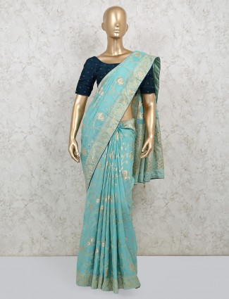 Latest sea green dola silk saree with contrast blousepiece