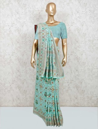 Latest sea green saree design in patola silk