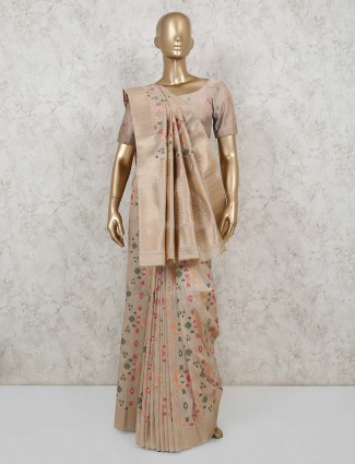 Latest semi banarasi beige silk saree for party
