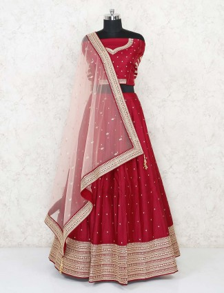 Latest semi stitched red lehenga for wedding function in silk
