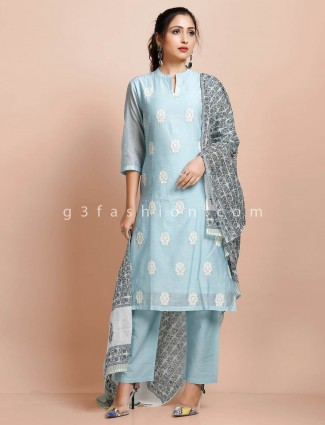 Latest sky blue cotton punjabi pant suit