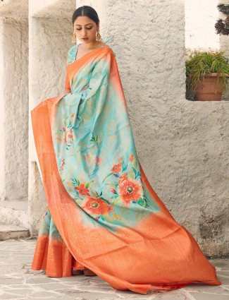 Latest sky blue cotton silk saree for party events