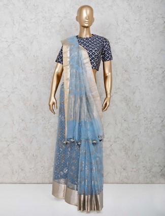 Latest skyblue organza tissue silk saree with readymade blouse