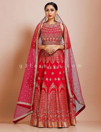 Latest trend magenta silk lehenga choli for bridal