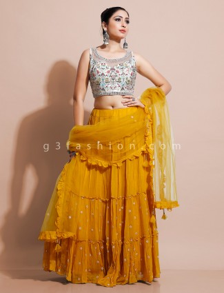 Latest white and yellow georgette lehenga choli for party