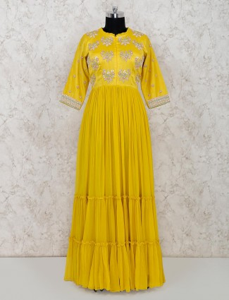 Latest Yellow anarkali suit for wedding in georgette