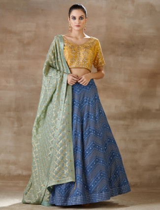 Latest yellow and blue georgette lucknowi lehenga choli