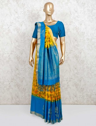 Latest yellow and blue pure silk wedding saree