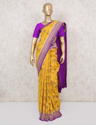 Latest yellow and purple saree in silk for festive