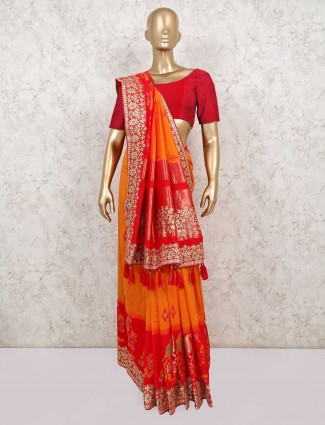 Latest yellow and red saree for wedding function in semi silk