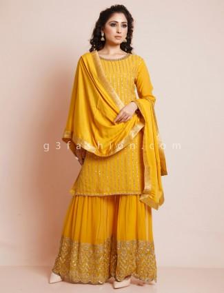 Latest yellow cotton silk salwar suit