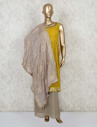 Latest yellow designer kurti with palazzo pant for festive