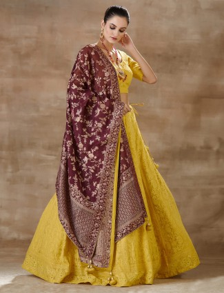 Latest yellow georgette lehenga choli for wedding
