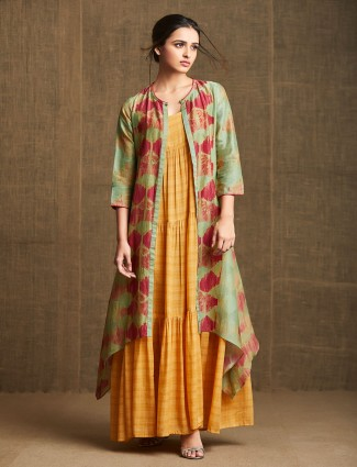 Latest yellow kurti with jacket for casual look