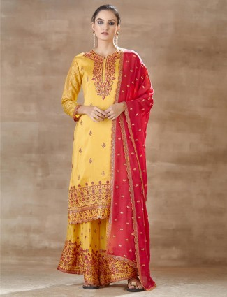 Latest yellow palazzo and suit set for party session