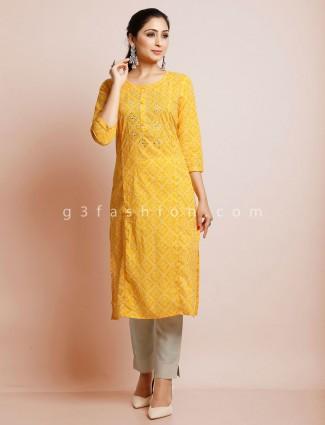 Latest yellow printed festive kurti