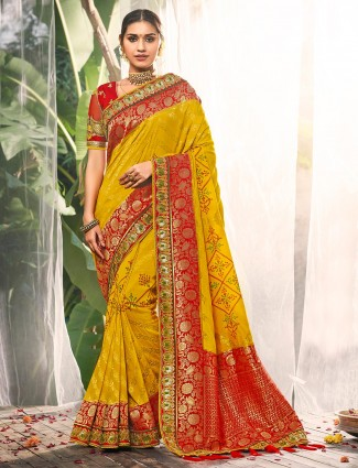 Latest yellow saree for wedding in silk