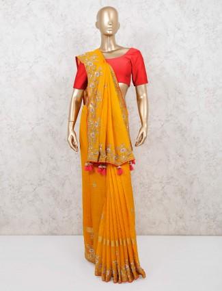 Latest yellow wedding saree design in chanderi cotton silk