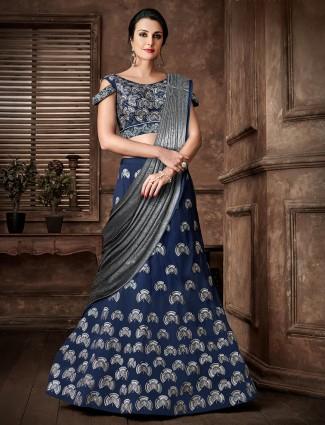 latest zari and sequin lehenga cum saree in lycra and silk for wedding
