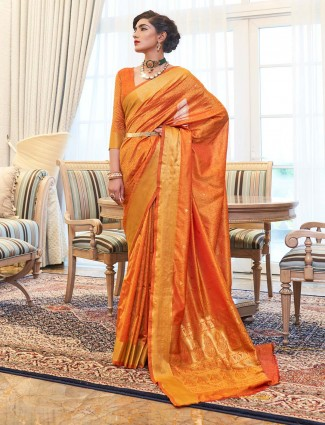 Latets reception wear yellow kanjeevaram silk