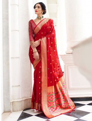 Latets red zari weaved festive saree