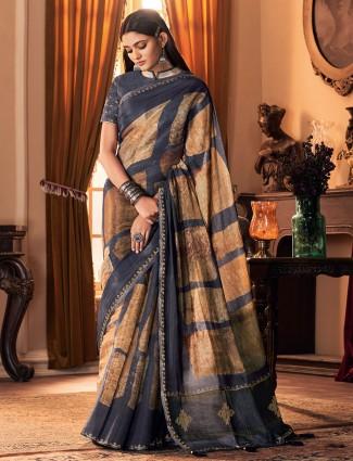 Lavish cotton silk festive wear saree in grey