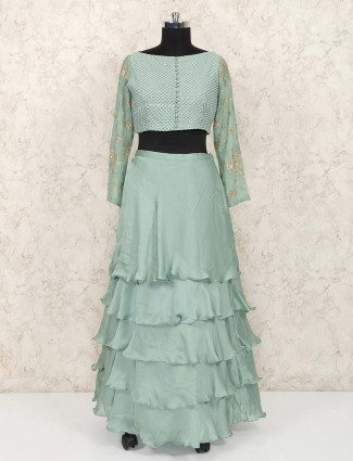 Layer style green color satin lehenga choli