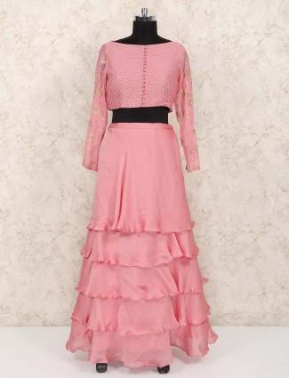 Layer style pink color satin lehenga choli