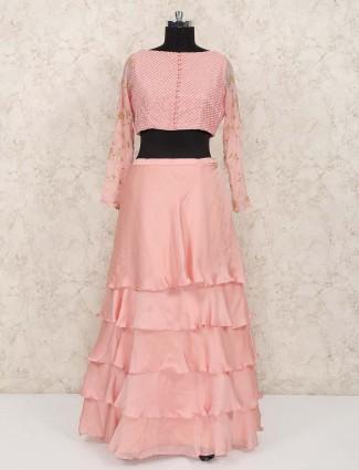 Layer style pink satin party lehenga choli