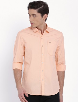 Lee peach cotton plain shirt