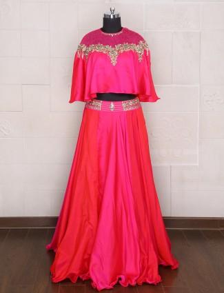 Lehenga choli in magenta silk fabric for parties
